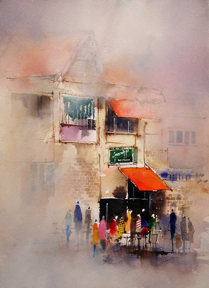 Painting demonstrating different applications of watercolor paint  © John Lovett