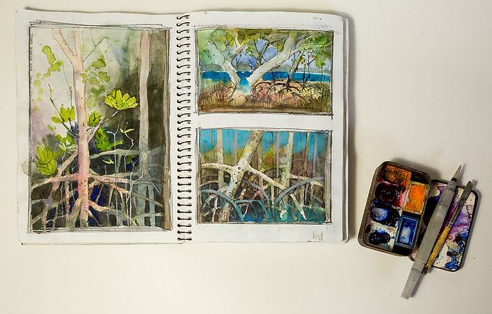 travel diary and small paint palette