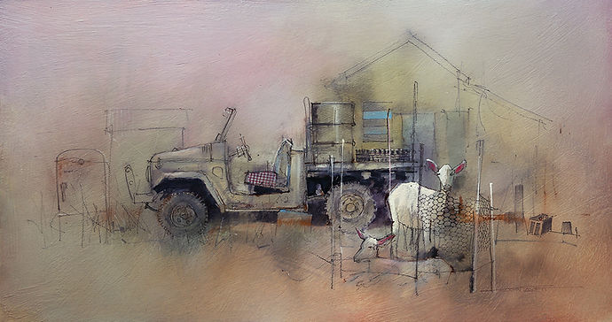 Outstation Goats Watercolor and Mixed Media on Aluminium Composite Panel