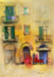 painting of an Italian Village using gesso and watercolor