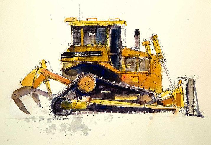 Buldozer painting using yellow watercolor
