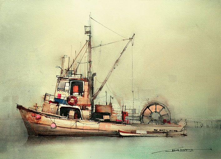 Watercolor painting of a fishing trawler showing tight color harmony