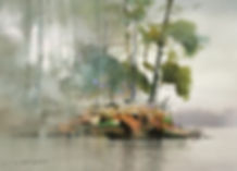 Landscape painting featuring soft, wet in wet watercolor edges