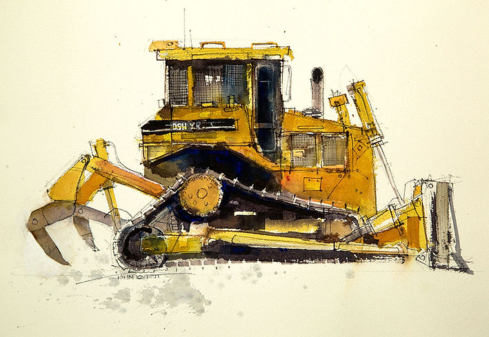 Watercolor Painting of Yellow Bulldozer