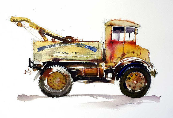 painting of a truck using red orange with contrasting  blue accent color