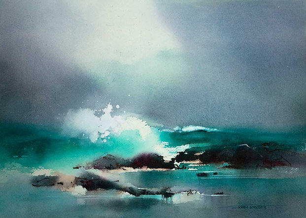 Watercolor seascape using Phthalo Green and Phthalo Blue