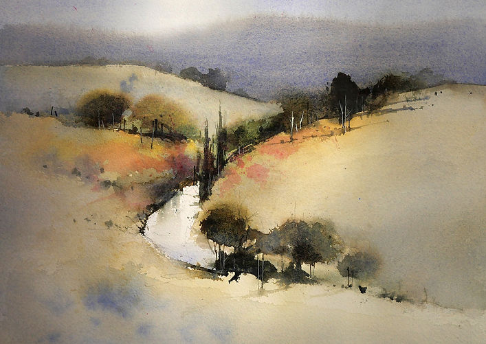 Watercolor Landscape showing compound and saturated colors