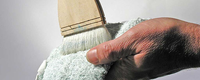 Drying a Hake Brush on an old towel