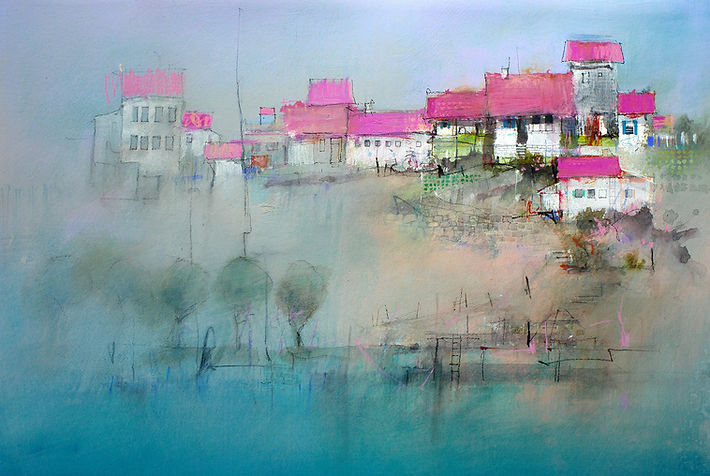 Mixed Media Painting contrasting areas of detail with areas of simplicity