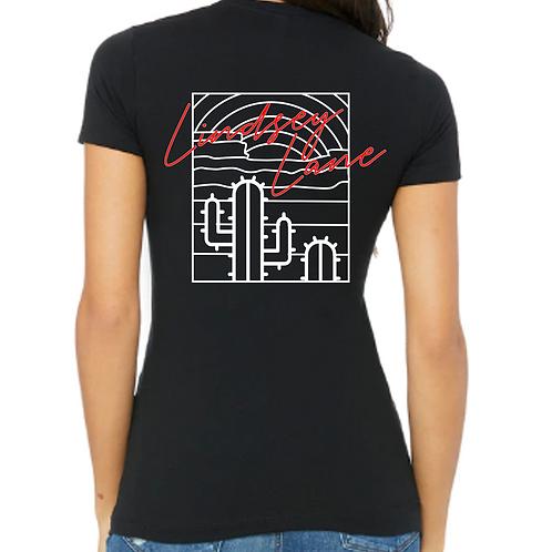 Ladies Fit Black Cactus T-Shirt