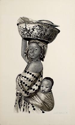 Femme Peull avec enfant II