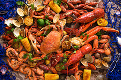 Variety of crab, lobster, and shrimp