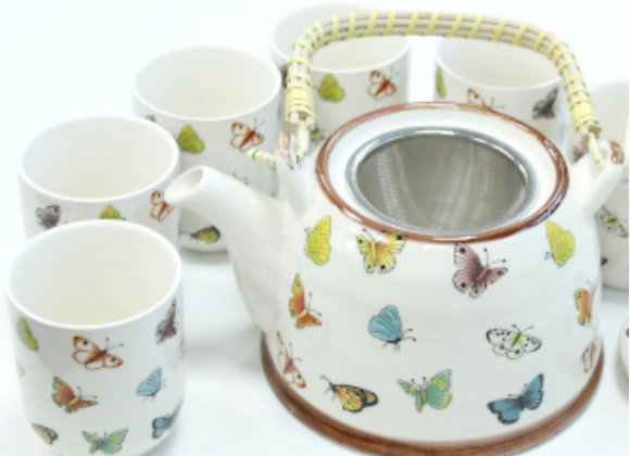 Teapot Set with Strainer & 6 Matching Cups