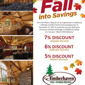 Fall Savings with Timberhaven Log & Timber Homes