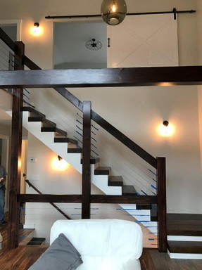 Stairs with Barn Door Slider