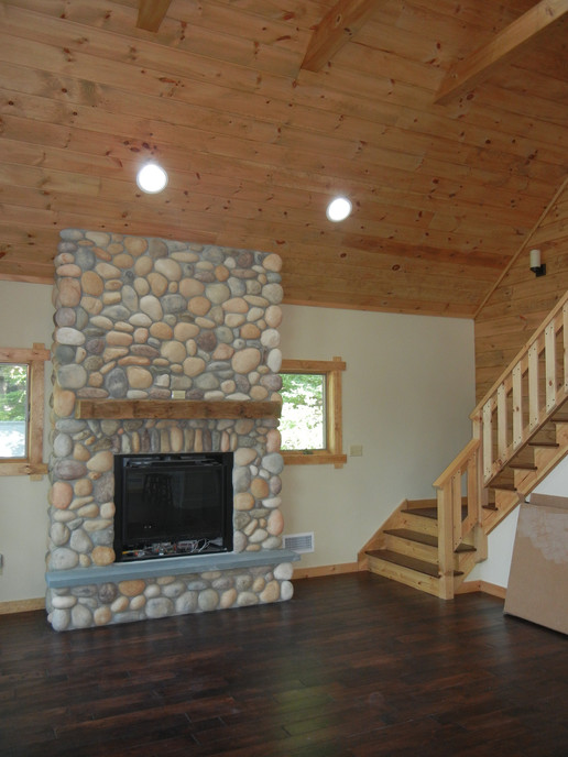 Stone Fireplace and Vaulted Ceiling