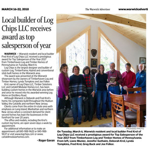 Local builder of Log Chips LLC receives award as top salesperson of year