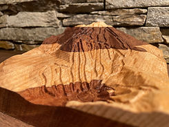 artisinal handcrafted Mount Sunapee Mountain Resort carved into layered wood