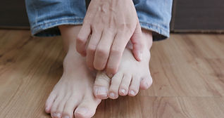 close up of man athlete foot with health
