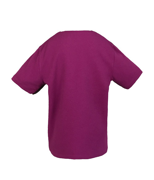 [後幅] 初 女童 | 紫色斜紋節布 | 深紫色塑膠拉鍊