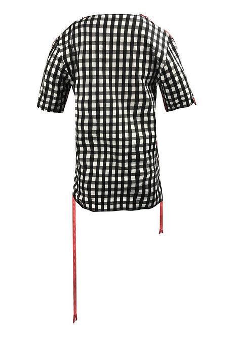 [後幅] 變 女裝 | 黑白大格布 | 粉紅色塑膠拉鍊