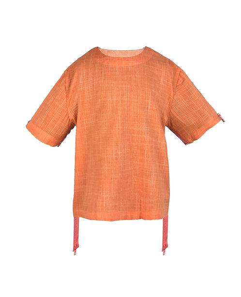 [前幅] 變 女童 | 橙白格仔布 | 粉紅色塑膠拉鍊