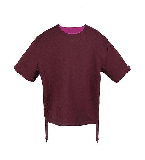 [前幅] 初 女童   棗紅色斜紋布   深紫色塑膠拉鍊