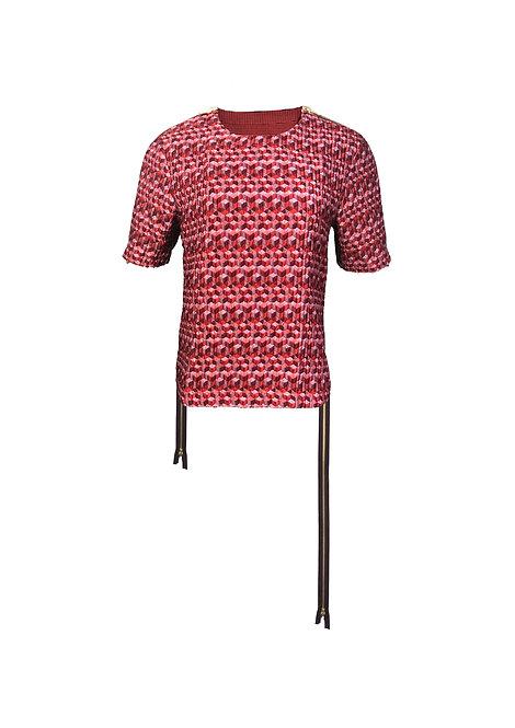 [FRONT] Mutant 2 Women | Fabric - Pink Geometric | Zipper - Plum Gold Metal