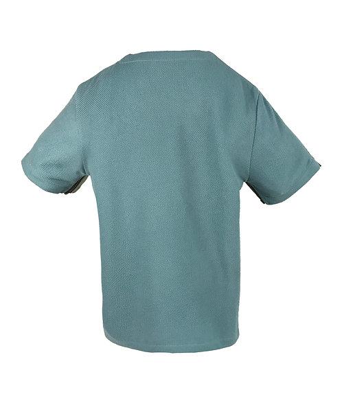 [後幅] 初 男童 | 湖水綠針織粒粒絨 | 深灰色拉鍊
