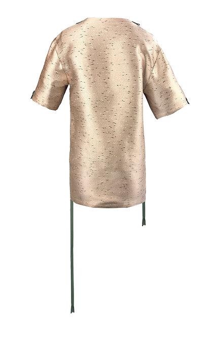 [後幅] 變 女裝 | 粉紅黑白點布 | 綠色塑膠拉鍊