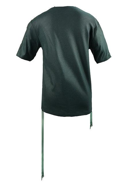 [後幅] 變 女裝 | 綠色細直條布 | 綠色塑膠拉鍊