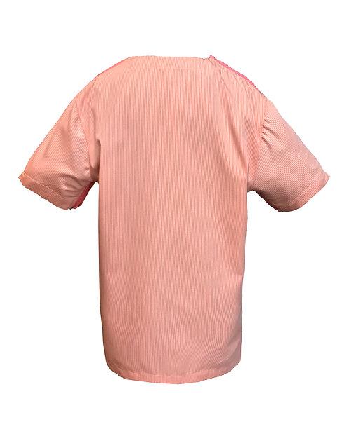 [後幅] 變 女童 | 橙灰細直條布 | 粉紅色塑膠拉鍊