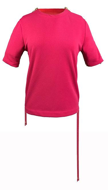 [前幅] 初 女裝 | 桃紅色斜紋布 | 深粉紅色金屬拉鍊