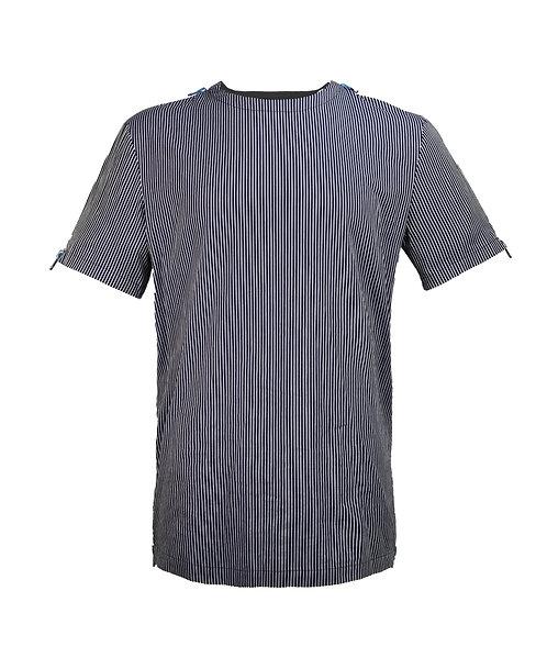 [前幅] 變 男裝 | 深藍直間條布 | 藍色塑膠拉鍊