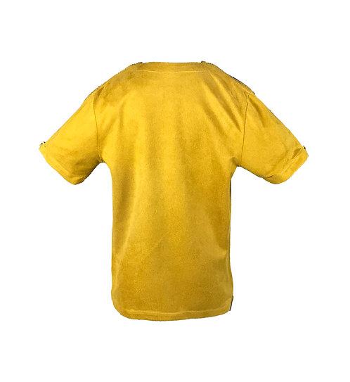 [後幅] 變 女童   泥黃色仿麂皮布   泥黃色塑膠拉鍊