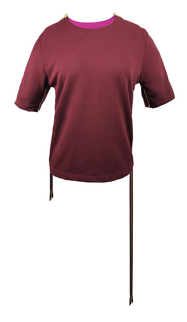 [前幅] 初 女裝 | 棗紅色斜紋布 | 深紫色金屬拉鍊