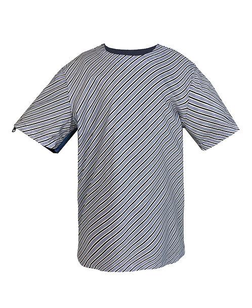 [FRONT] Mutant Boy | Fabric - Blue Shade Shade Stripe | Zipper - Sky Vislon