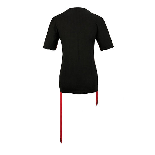 [後幅] 女裝 | 黑色暗格 | 紅色白金色金屬拉鍊