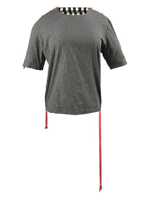 [前幅] 變 女裝   黑白細格布   粉紅色塑膠拉鍊