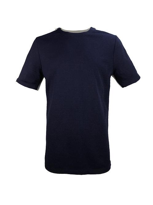 [前幅] 初 男裝 | 藍色斜紋布 | 灰藍色塑膠拉鍊