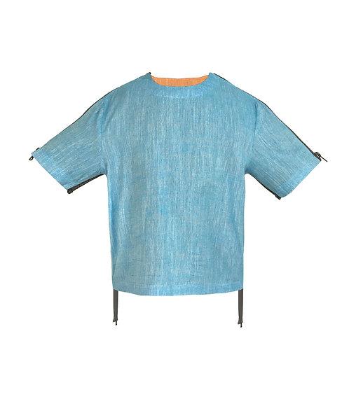 [前幅] 初 女童 | 藍色織竹節布 | 深灰色塑膠拉鍊