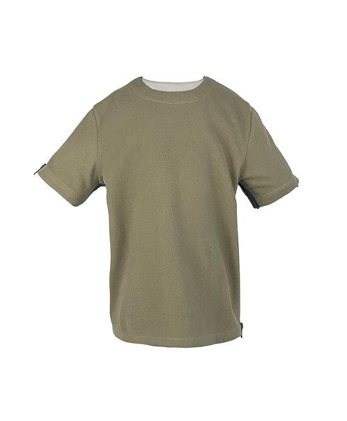 [前幅] 初 男童 | 墨綠色針織粒粒絨布 | 灰藍色拉鍊