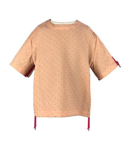 [前幅] 初 女童 | 粉布金色點點布 | 粉紅色塑膠拉鍊