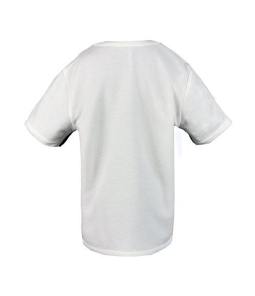 [後幅] 初 男童 | 白色針織粒粒絨布 | 深灰色拉鍊