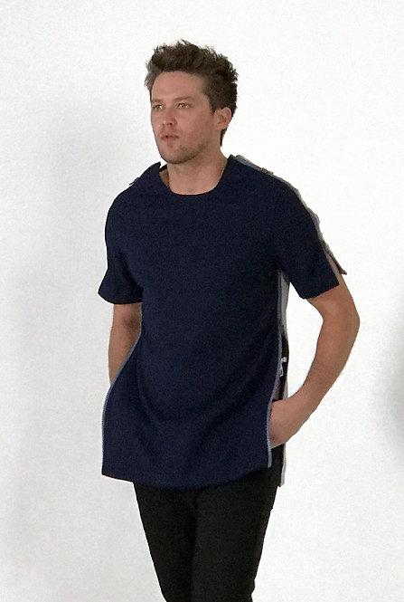 MEN BLUE SHORT SLEEVE T SHIRT FRONT PIECE (NEWBURYPORT BLUE ZIPPER)