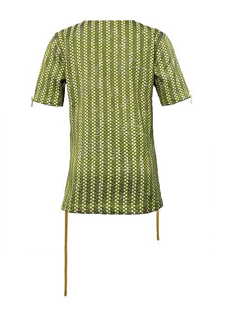 [BACK] Mutant 2 Women | Fabric - Lime & Lemon Dot | Zipper - Mustard Gold Metal