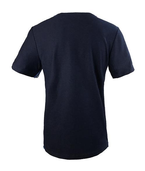 [後幅] 變 男裝 | 藍色彈力布 | 藍色塑膠拉鍊