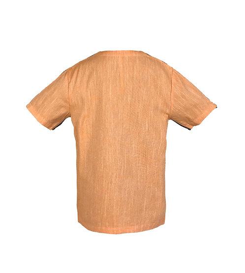 [後幅] 初 女童 | 橙織竹節布 | 深灰色塑膠拉鍊