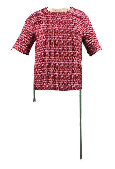 [前幅] 變 女裝 | 粉紅色幾何圖案布 | 綠色塑膠拉鍊