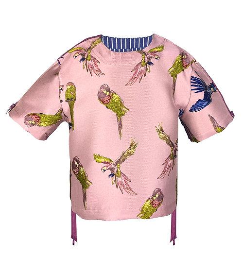 [前幅] 變 女童   粉紅色鸚鵡布   紫色塑膠拉鍊